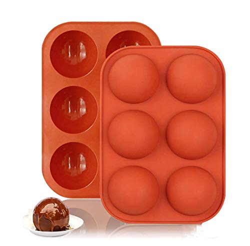 2PCS 6 Holes Half Ball Sphere Silicone Cake Mold Muffin Chocolate Cookie Baking Mould Pan Handmade Mini Muffin Soap Make (Red)