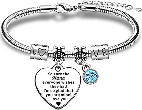 JMIMO Nana Gifts from Grandchildren Adjustable Charm Snake Bracelet Jewelry Gift for Nana Nanny Nan Nannie