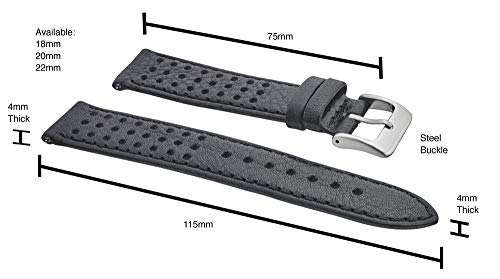 Alpine Soft and Smooth Genuine Perforated Leather Watch Band – Black, Brown, Tan – 18 mm, 20 mm, 22 mm