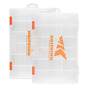 KastKing Tackle Boxes, Plastic Storage Organizer Box with Removable Dividers, 3600 Tackle Trays, Parts Box, 10.8x7.25x1.65 Inches (Pack of 2)