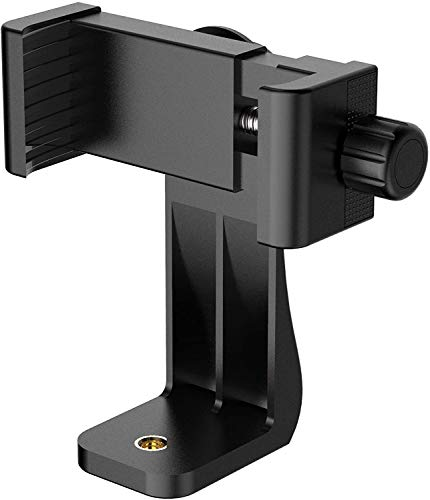 TECHONTO Cell Phone Holder with Adjustable Clamp Phone Tripod Mount Adapter Compatible with Smartphones & All Types of Tripods – Black