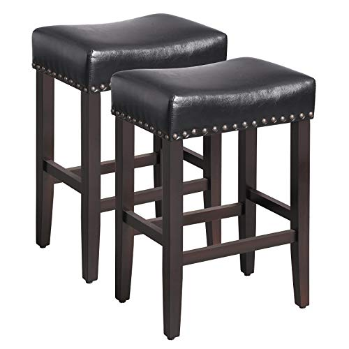 SONGMICS Set of 2 Counter Stools, Well-Padded Ergonomic Bar Stools, Solid Wood Legs, PU Cover, Seat Height 26.4 Inches, with Footrest, Dark Brown