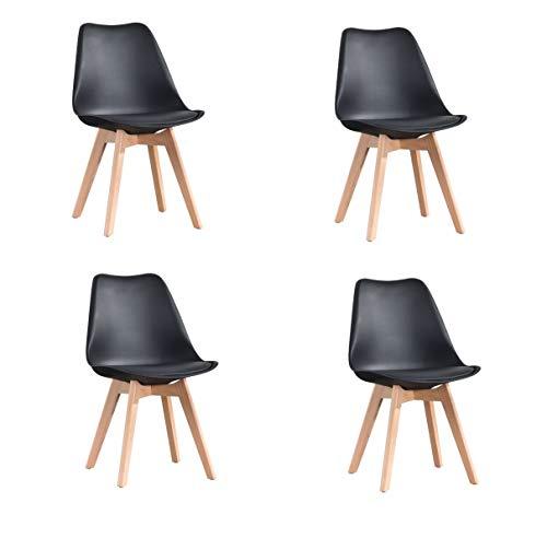 luckeu Juego de 4 sillas de comedor tapizadas modernas de mediados de siglo PU sillas laterales con patas de madera de haya,...
