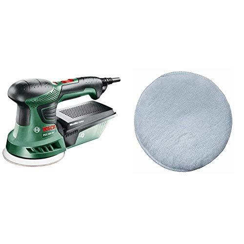 Bosch PEX 300 AE - Lijadora excéntrica con maletín (1x hoja de lija, plato lijador de goma, 270 W) + Bosch 2 609 256 049 - Caperuza de lana de oveja para lijadora excéntrica, 125 mm