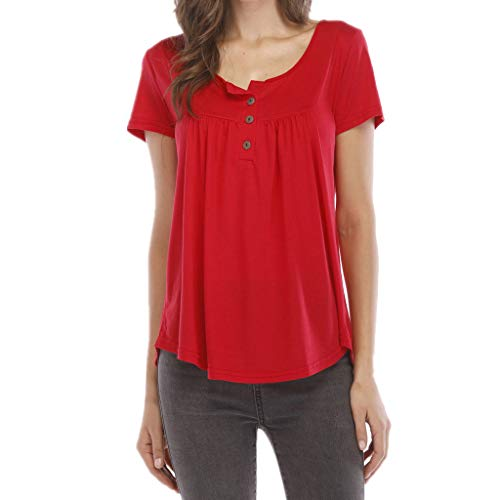 Great Deal! Lovor Women's Henley Shirts Casual Scoop Neck Pleated Blouse Button Up Front Pleated Fla...