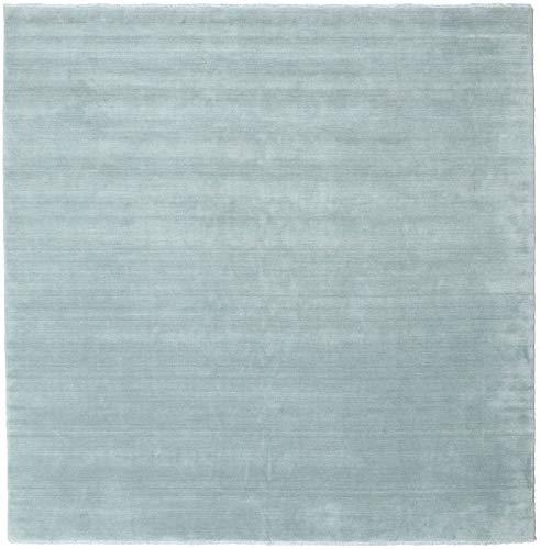 CarpetVista Alfombra Handloom Fringes - Azul Pálido 250x250 Alfombra Moderna, Cuadrada
