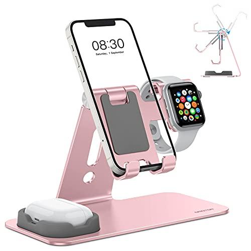OMOTON 3 in 1 Supporto per Airpods e Apple Watch Regolabile, Stand Tavolo per Telefono, Stazione di Ricarica per Apple Watch SE/6/5/4/3/2/1, Dock per iPhone 12, SE, 11 PRO, Airpods 1,2, PRO, Oro Rosa