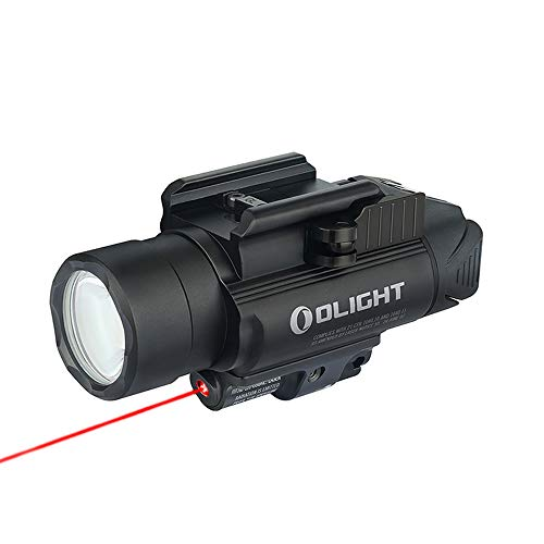 OLIGHT Baldr RL 1120 Lumens LED Rail-Mounted Weaponlight with Red Light and White LED, 240 Meters Light Distance Tactical Light Powered by 2 x CR123A Batteries, Black