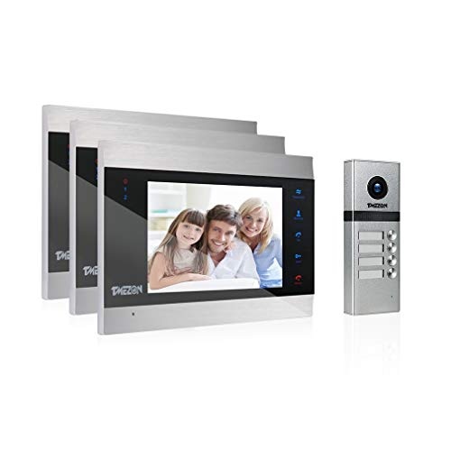 TMEZON Video Türsprechanlage Türklingel Intercom System, Türsprechanlage mit 7 Zoll 3-Monitor 1-Kamera Für Familienhaus, Touch-Taste, Nachtsicht, Unterstützung automatisch Snapshot/Aufnahme