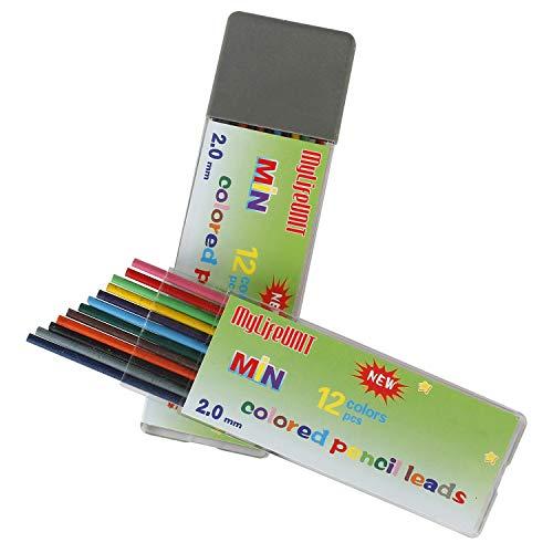 MyLifeUNIT 2mm Color Pencil Lead, 2.0mm 12 Colors Lead Refills for Mechanical Pencil