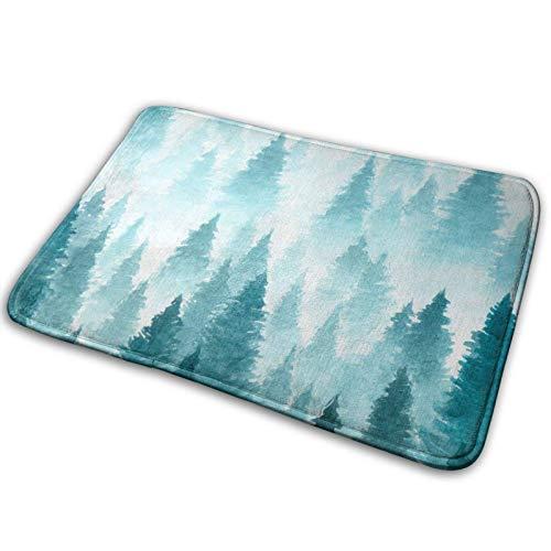 WXM Alfombra de baño para puerta de invierno azul árbol de espuma viscoelástica frente alfombra de cocina para sala de cocina interior al aire libre 19,5 x 80 cm