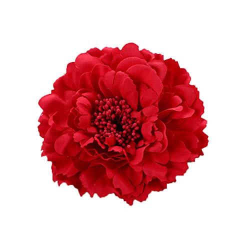 outflower cabeza flor Pequeño Ramo de flores decoración Straw Hat Accessories Flower gran flor de peonía alfiler de cabello, tela, rojo, 11 cm