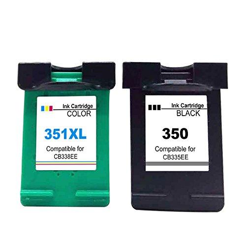 Ksera Reconditionné HP 350 351XL Cartouche d'encre HP 350 Noir HP351XL Couleur Imprimante Cartouche, Paquet de 2(1 Noir+1 Tricolore) CB335EE / CB338EE pour HP PhotosmartC4280/C4270/C434/C4380/C5280