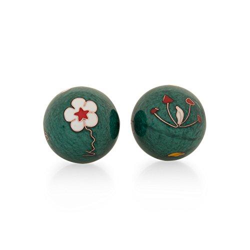 Meditation Qi-Gong-Kugeln mit Klangwerk | Klangkugeln | Yin Yang | Design Blume grün | verschiedene Durchmesser (Ø 40 mm)