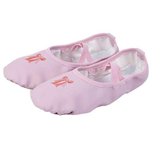 Freebily Zapatillas para Niña Zapatos de Danza Ballet Gimnasia para Niña Confortables Antideslizantes Rosa EU 28 (17cm)