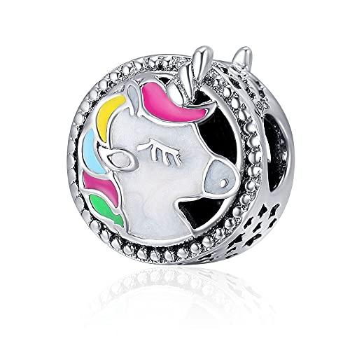 LISHOU Colorido Unicornio Animal Charm 925 Cuentas Colgantes De Plata Esterlina Se Ajustan Al Collar Original Pandora Pulsera DIY Joyería Que Hace El Regalo