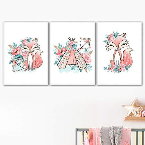 Liuqidong Carteles de Dibujos Animados Imprimir imágenes Fox Rent Flor Hoja Animales Arte de Pared...