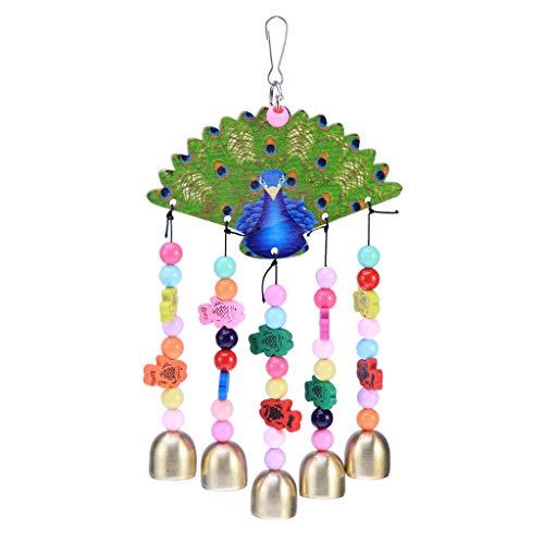 Carillons décoratifs Cloches en cuivre en Forme de Paon Creative Vent carillons en Bois perroquets mâcher Jouet pour Un Oiseau Fournitures Ornements de Jardin Carillons à Vent