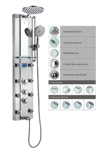 "Blue Ocean 52"" Stainless Steel SPV962332 Thermostatic Shower Panel with Rainfall Shower Head, 8 Adjustable Nozzles, and Tub Spout"