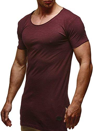 Leif Nelson Herren Sommer T-Shirt Rundhals-Ausschnitt Slim Fit Baumwolle-Anteil Moderner Männer T-Shirt Crew Neck Hoodie-Sweatshirt Kurzarm lang LN6336 Bordeaux XX-Large