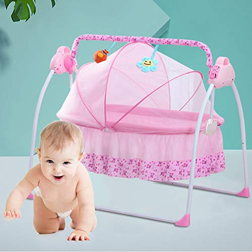 Electric Baby Cradle Swing Bassinet Baby Crib Cradle Infant Rocker with Music Remote Control Auto-Swing Bed Baby Cradle Sleeping Basket Bed Cot + Mat (Pink)