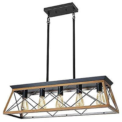 XIPUDA 5-Light Linear Pendant Light Fixture Kitchen Island Lighting Antique Industrial Metal Farmhouse Chandeliers (Walnut)