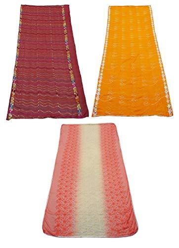PEEGLI Combo De Ropa De Mujer India De 3 Telas Mixtas Tradicional Dupatta Tela Vintage Multicolor DIY Bordado Dupatta