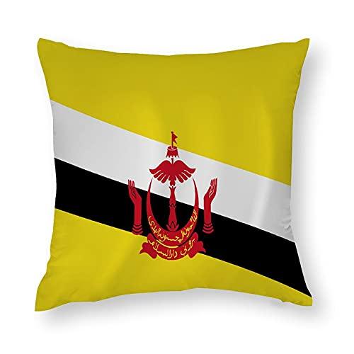Brunei Kissenbezug mit winkender Flagge, quadratisch, dekorativer Kissenbezug für Sofa, Couch, Zuhause, Schlafzimmer, Innen- & Außenbereich, 45,7 x 45,7 cm