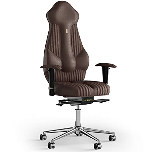 KULIK SYSTEM Imperial - Silla de escritorio para ordenador con respaldo y cojín de asiento ergonómico patentado, silla de oficina ergonómica, tela cosida (Antara - marrón)