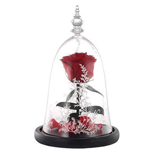 Rose Dura Forever Preserved Flor en cúpula de cristal con base de luz LED para San Valentín, Día de la Madre, cumpleaños, mujer, Día de la Madre, aniversario, decoración