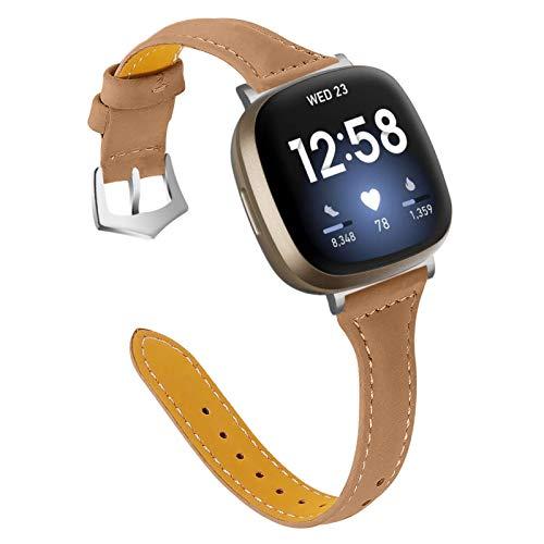 Gimart UK Lederarmband kompatibel für Fitbit Versa 3/Fitbit Sense, Damen Herren Slim Echtes Leder Sport Band Ersatz Uhrenarmband Armband für Versa 3 Fitness Smart Watch Klein Groß (Kaffee)