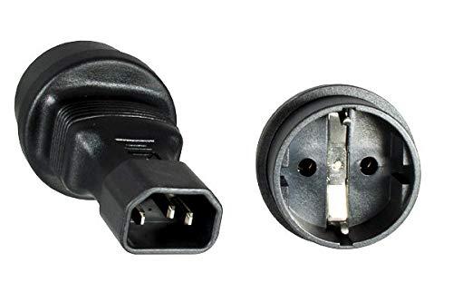 DINIC Stromadapter, Netzadapter Schutzkontakt-Buchse CEE 7/3 auf C14 Kaltgeräte-Stecker, Adapter (1 Stück, schwarz)