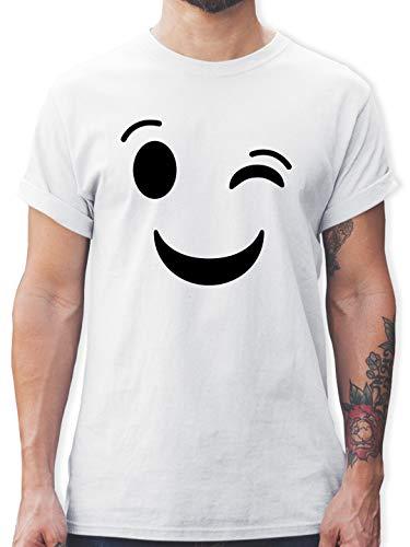 Karneval & Fasching - Zwinker Emoticon Karneval - S - Weiß - l190_Shirt_Herren - L190 - Tshirt Herren und Männer T-Shirts