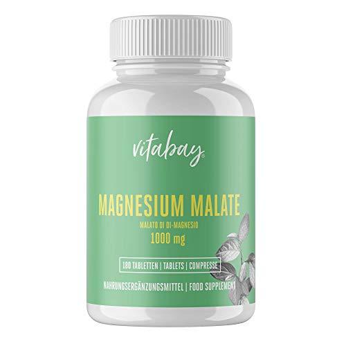 Vitabay Magnesium Malat 1000 mg • 180 vegane Tabletten • Hochdosiert • Made in Germany