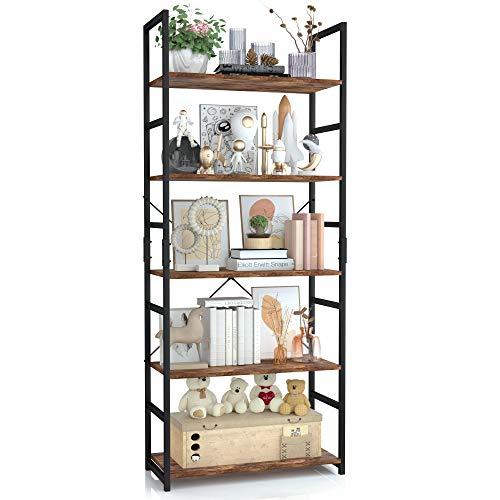 OTK 5 Tier Bookshelf Tall Bookcase Office Shelf Storage Organizer Modern Book Shelf for Living Room Bedroom and Home Office Vintage