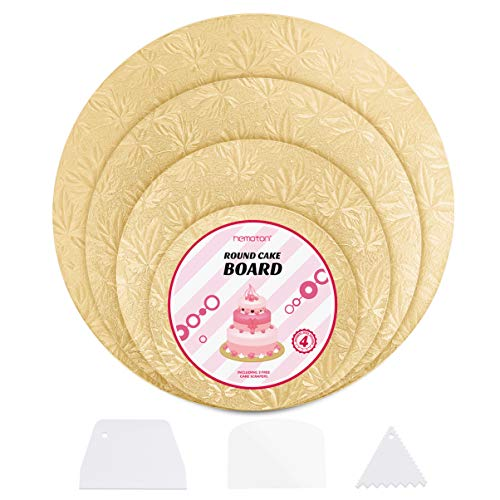 """Hemoton 4Pcs Reusable Thicker Cake Cardboards with Embossed Foil Wrapping and 3 Scrapers for Cake Decoration Wedding Birthday Party 12"""" 10"""" 8"""" 6"""" (Gold)"""