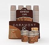 Caramont,4 Oz 200 Espresso Gobelets en Carton avec Agitateurs en Bois,Écologique et Jetables,Résistant à la Chaleur,Carton de Qualité,Idéal pour Toutes Les Boissons Chaudes ; Café,Thé,Chocolat etc.