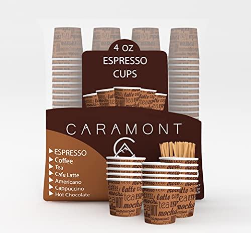 Caramont,200 Vasos Carton Desechables para Café Espresso de 4 onzas 110 ml con agitadores de madera, ecológicos y desechables, resistentes al calor