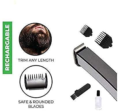 DHEERA Trimmer for men, beard trimmer for men, trimmer men, Beard and Hair Trimmer for Men And Women, Rechargeable Cordless Men Trimmer Shaver Machine - 3 Extra Clips (Multicolor).