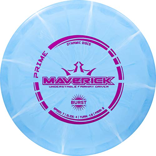 Dynamic Discs Prime Burst Maverick   Fairway Disc Golf Driver   Controllable and Versatile Frisbee Golf Disc   Beginner Friendly   170g Plus   Stamp Color and Burst Pattern Will Vary (Blue)
