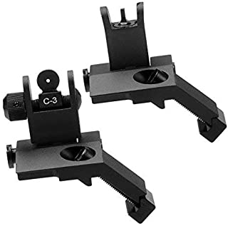 HWZ New Tactial Front and Rear Flip up 45 Degree Offset Rapid Transition Backup Iron Sight Universal 20mm Picatinny Weaver