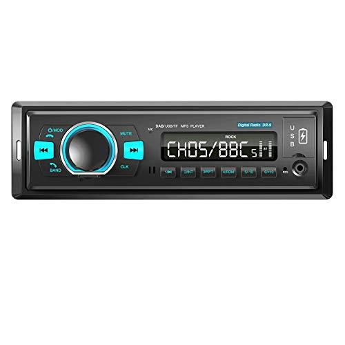 ANKEWAY Nuevo DAB/DAB+/FM Radio Coche Autoradio Bluetooth 5,0 con Llamadas Manos Libres y Mando a Distancia del Volante Externo, 4X60W Reproductor de MP3 Soporta BT/USB Doble/TF-Card/AUX/iOS y Android