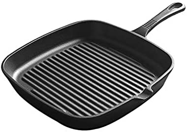 Fry Pan Stainless Fry Pan 23CM Professional Steak Grill Striped Cast Iron Frying Pans Non-Stick Cooking Pot BBQ Roasting Plate Kitchen Cookware Induction