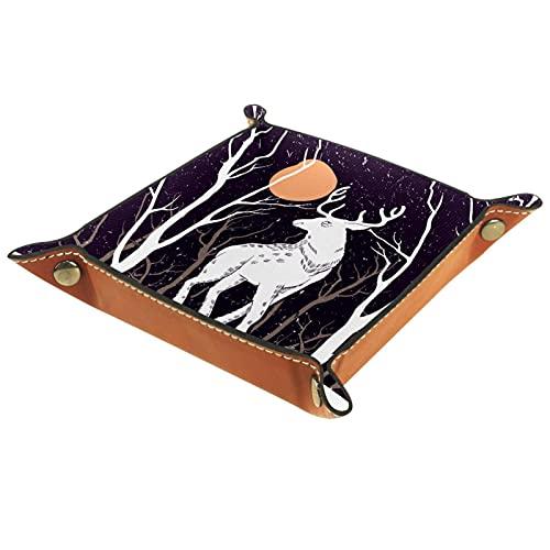 Black Snow Deer Under Moon Bandejas de valet para mujer, bandejas de cuero de microfibra, fondos de patrón multicolor, tablas de almacenamiento de escritorio para monedas clave