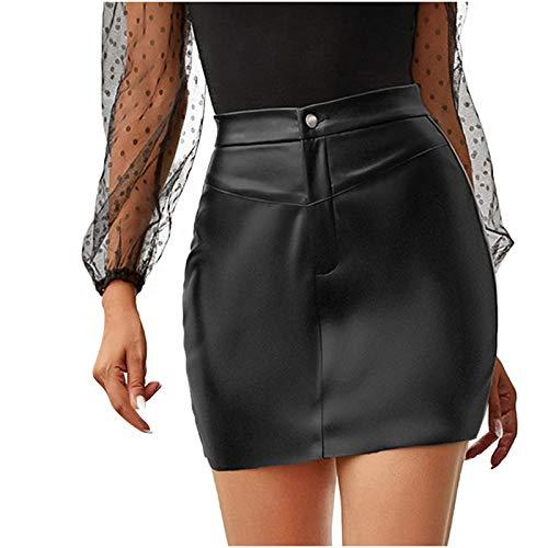 Damen Faux Leather Skirt Minirock Kurz Rock Wetlook High Waist Skirt glänzend Figurbetont Rock für Mädchen Frauen