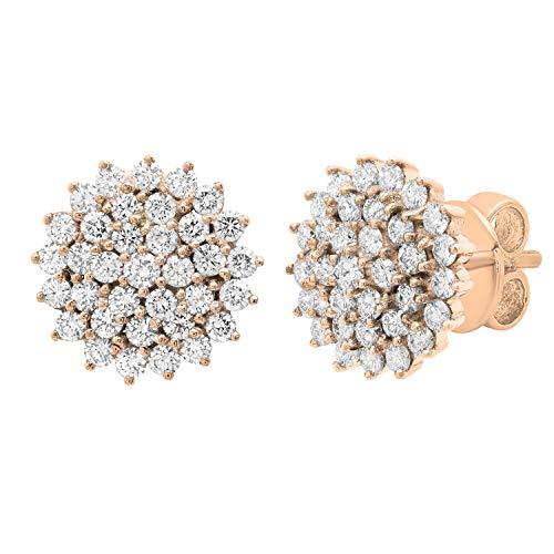 Dazzlingrock Collection Pendientes redondos de 3 quilates de diamantes blancos para mujer, oro rosa de 18 quilates