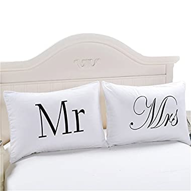 Sleepwish Set of 2 Mr and Mrs Pillow Cases, Anniversary Wedding Gift, Couple Pillowcases His and Hers Personalized Wedding Gift, Romantic Gift Idea for Couples (20 x 30inch)