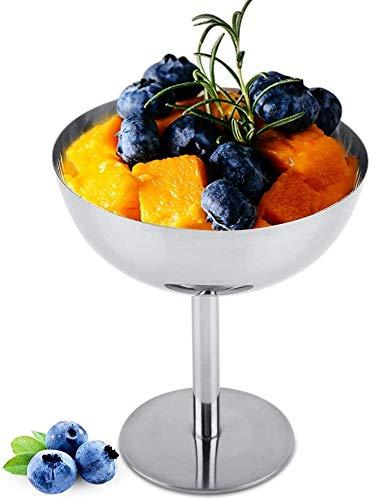FTVOGUE Copas de Helado Plato de Postre Tazones de Helado de Acero Inoxidable para Ensalada Pudín de Frutas(01)