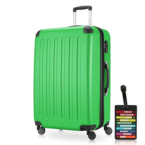 Hauptstadtkoffer - Spree Hartschalen-Koffer-XL Koffer Trolley Rollkoffer Reisekoffer Erweiterbar, 4 Rollen, TSA, 75 cm, 119 Liter, Apfelgrün inkl. Design Kofferanhänger