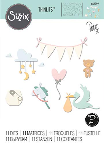 Sizzix Set di Fustelle Thinlits 11 pz 664399 NinnaNanna di Pete Hughes, Multicolore, Taglia unica